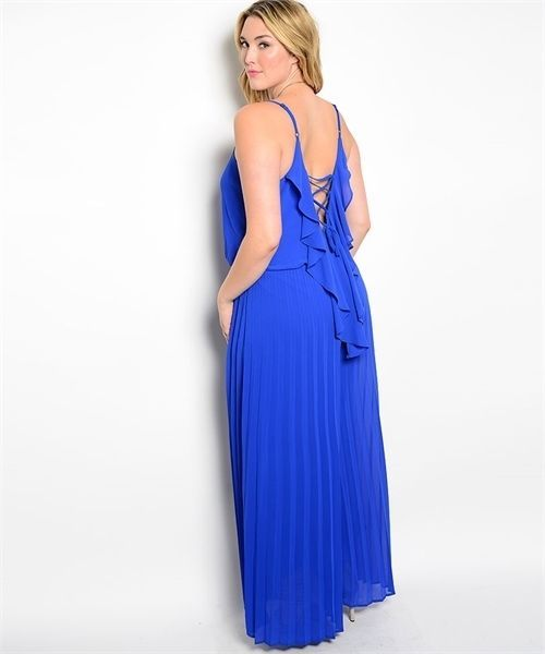 Image 1 of Sexy Blue Party Cruise Maxi Romper Jumpsuit Plus Size XL 2XL - Blu