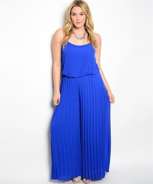 Image 0 of Sexy Blue Party Cruise Maxi Romper Jumpsuit Plus Size XL 2XL - Blu