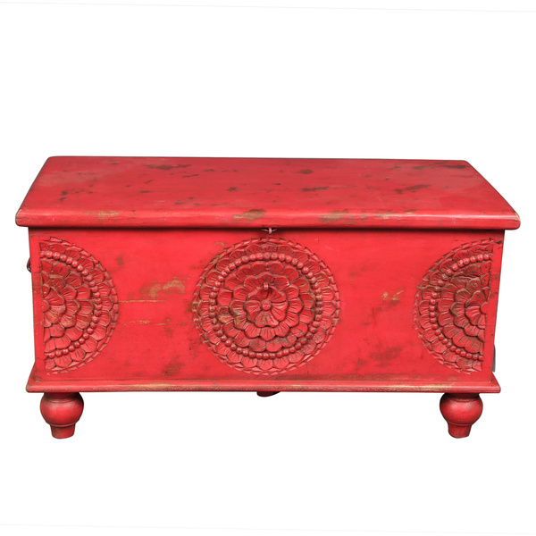 Coffee Table Trunk Living Room Furniture Red Hand Carved Medallion
