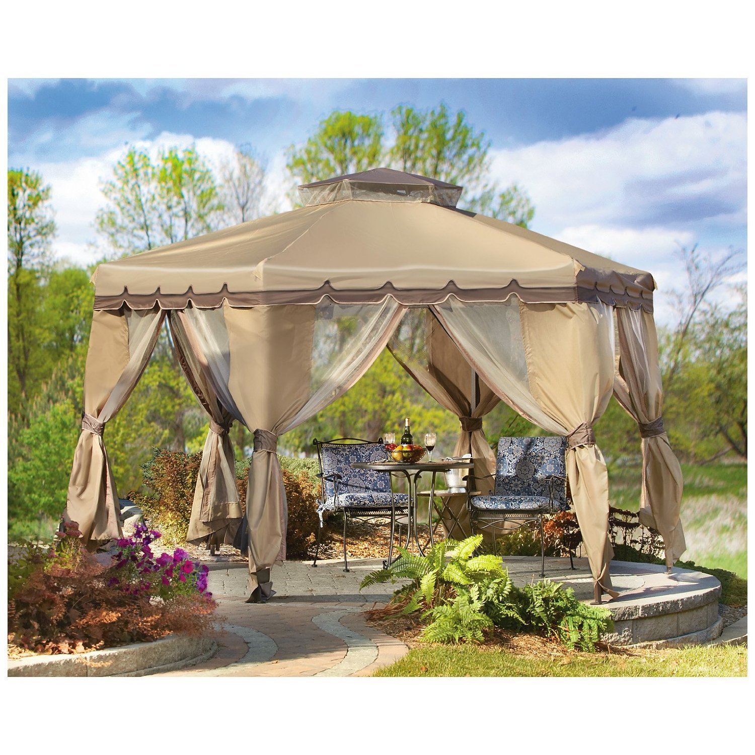 Paradise pop up patio gazebo with bug mesh netting 12 39 x12 - Small gazebo with netting ...