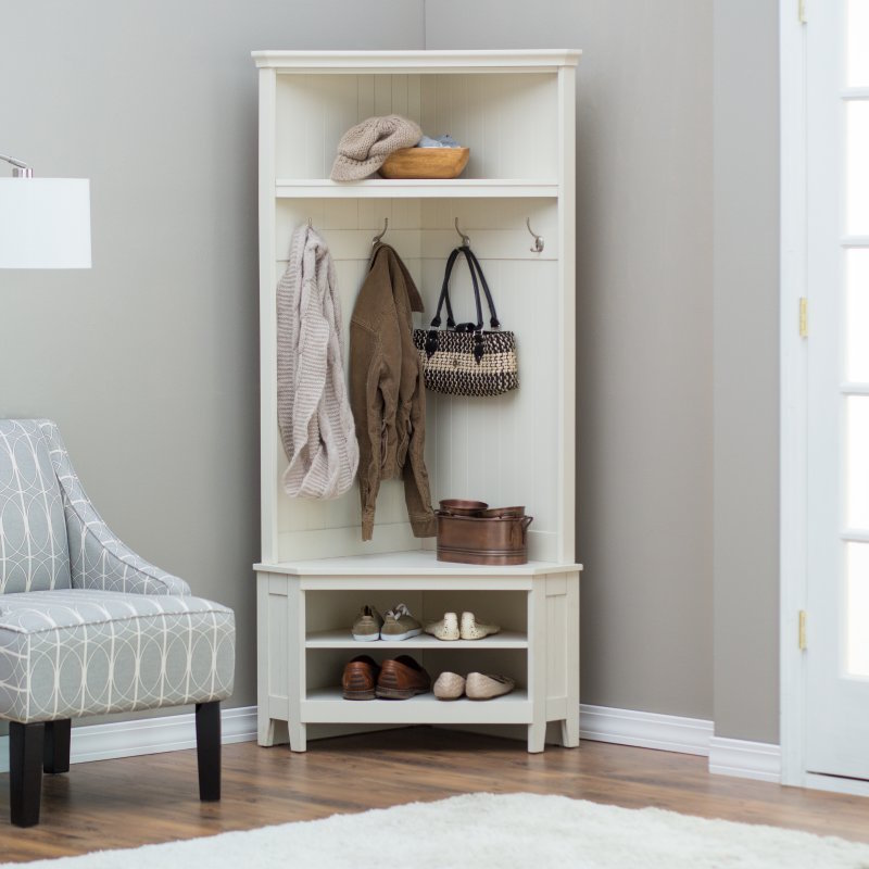 Hall Tree Storage Bench White Corner Coat Rack Shoe Shelf Entryway Furniture New Coat Hat Racks
