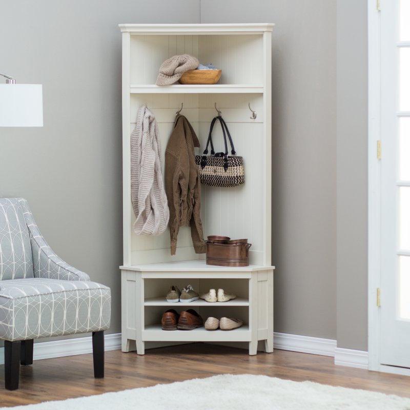 Hall Tree Storage Bench White Corner Coat Rack Shoe Shelf