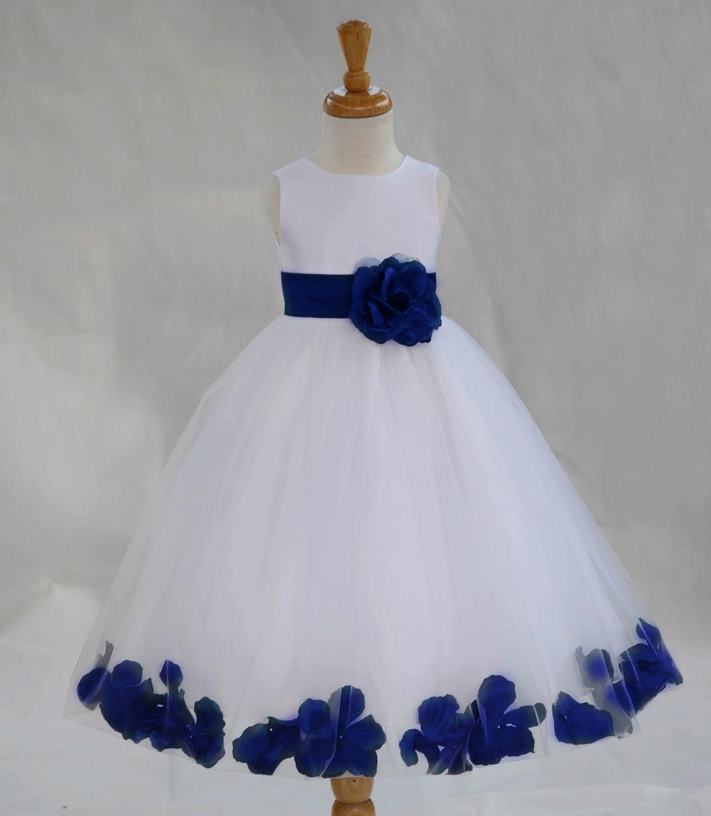 White And Navy Blue Flower Girl Dresses