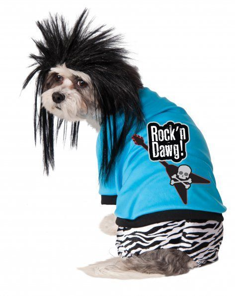 Image 1 of Hot Zebra Rock Star Pet Dog Costume and Wig, Rubies 580090 - Blue - Polyester -