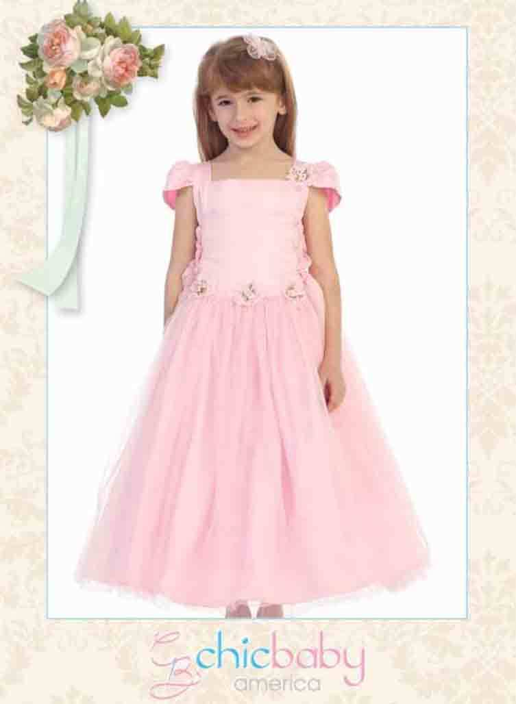 Image 2 of Chic Baby Blush Pink Tea Length Pageant Party Holiday Dress, 2, 4, 6 USA - Blush
