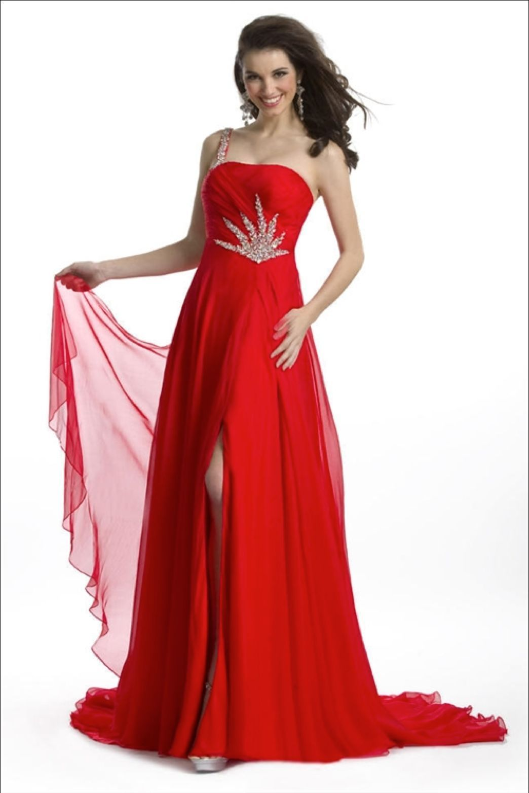 Stunning Sexy Silk Beaded One Strap Pageant Prom Gown, Prima Donna 5581 - Red -