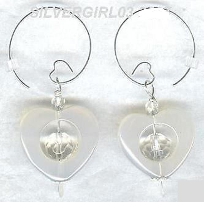 Open Heart Crystal White Agate Heart Hoop Earrings