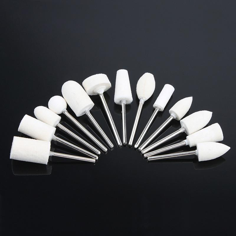12pcs Wool Stainless Steel Nail Drill Bit Manicure Head Replacement Device For M - Default Title