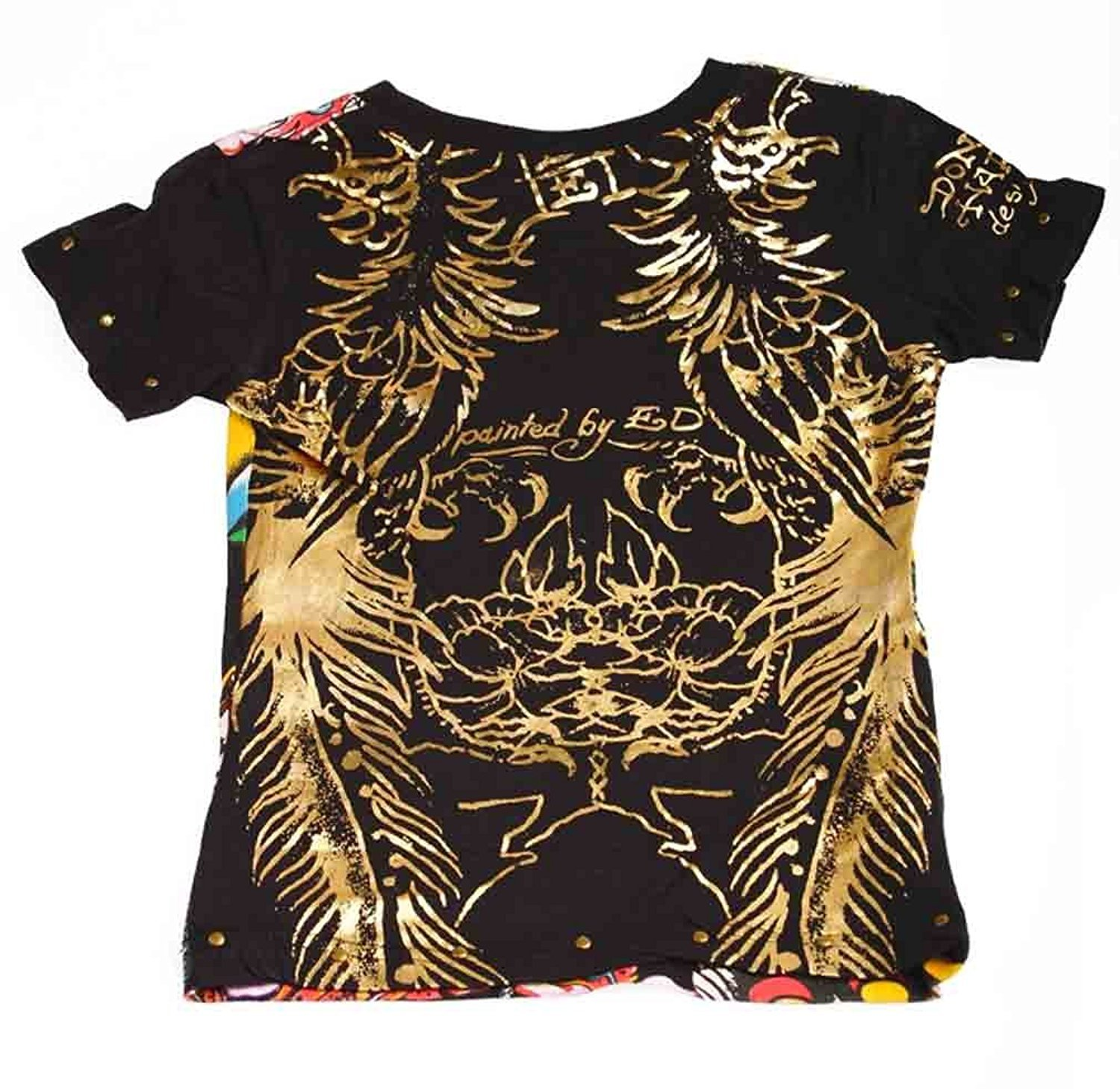 Image 1 of Ed Hardy Girls Black Tee Shirt W/birds Flowers Motif, Short Sleeve