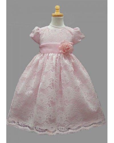 Image 3 of Stunning Ivory Lace/Pink Satin Christening Flower Girl Dress w/ Flower USA - Pin