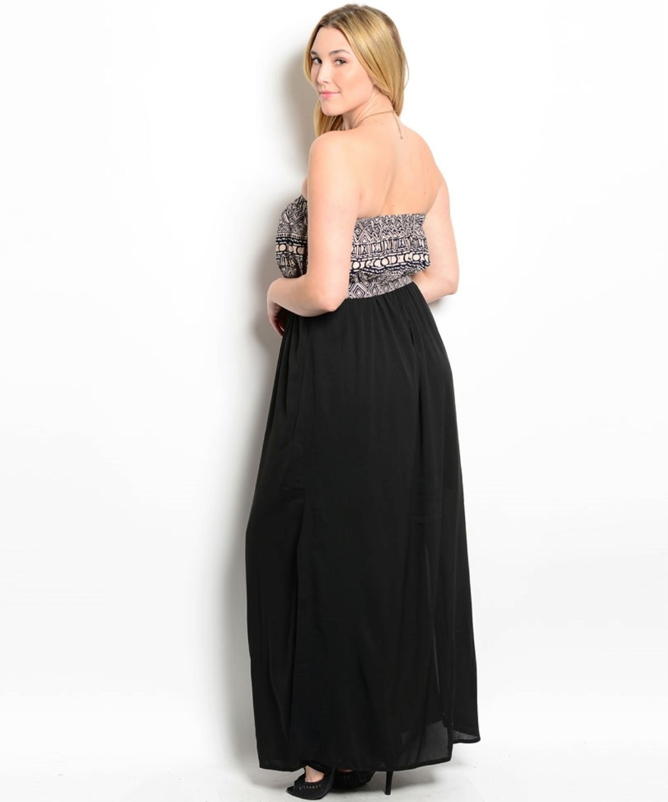 Image 1 of Sexy Strapless Black Party Cruise Maxi Dress/Taupe Tribal Print Top XL 2X or 3XL