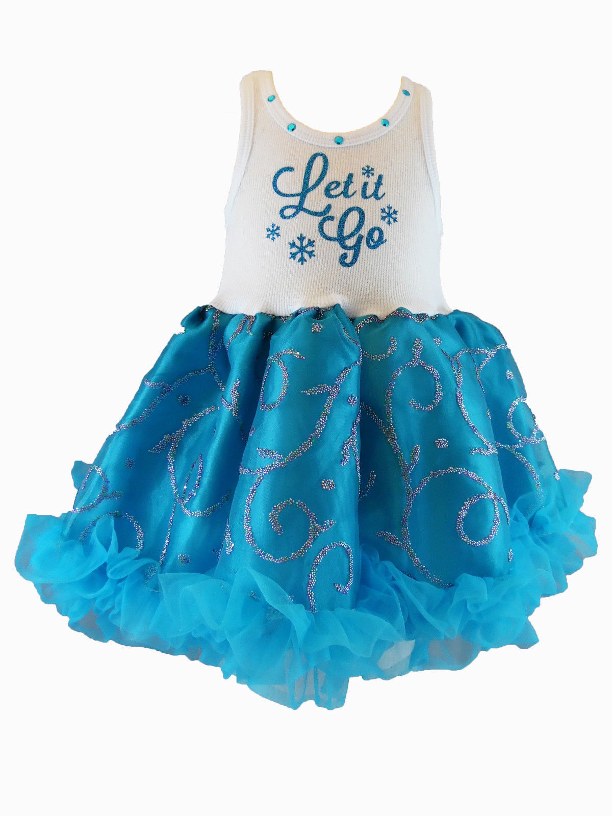 Image 1 of Chic Let It Go Chiffon Sleeveless Tutu Dress 3-6x Cupcakes & Kisses Turquoise