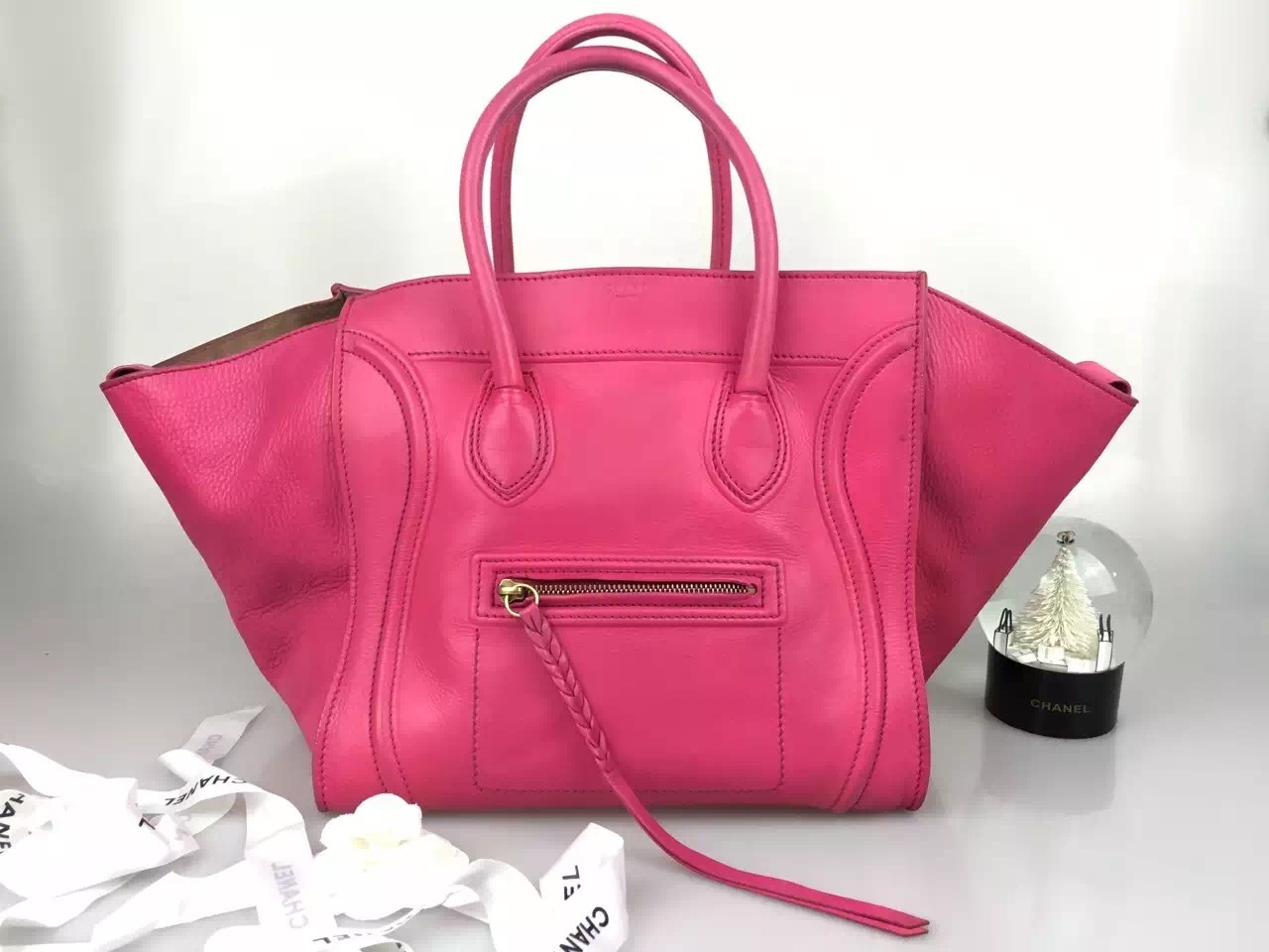 celine purses on sale - Authentic CELINE Smooth Leather Medium Phantom Luggage Fuchsia Hot ...