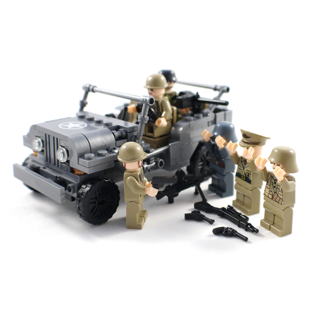 WW2 US Army Jeep with Soldier Minifigures - Lego ...