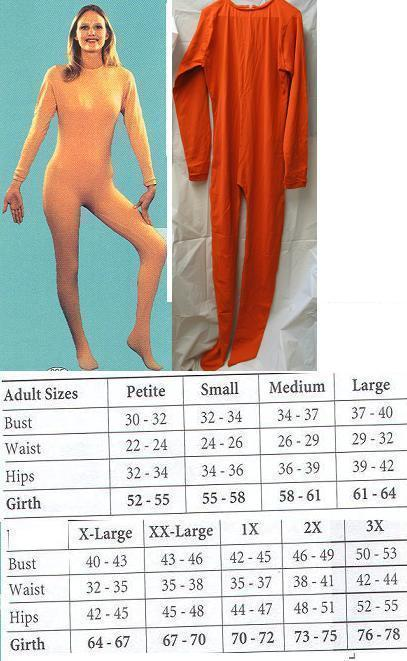ADULT UNITARD ORANGE MENS SMALL FULL BODY SUIT