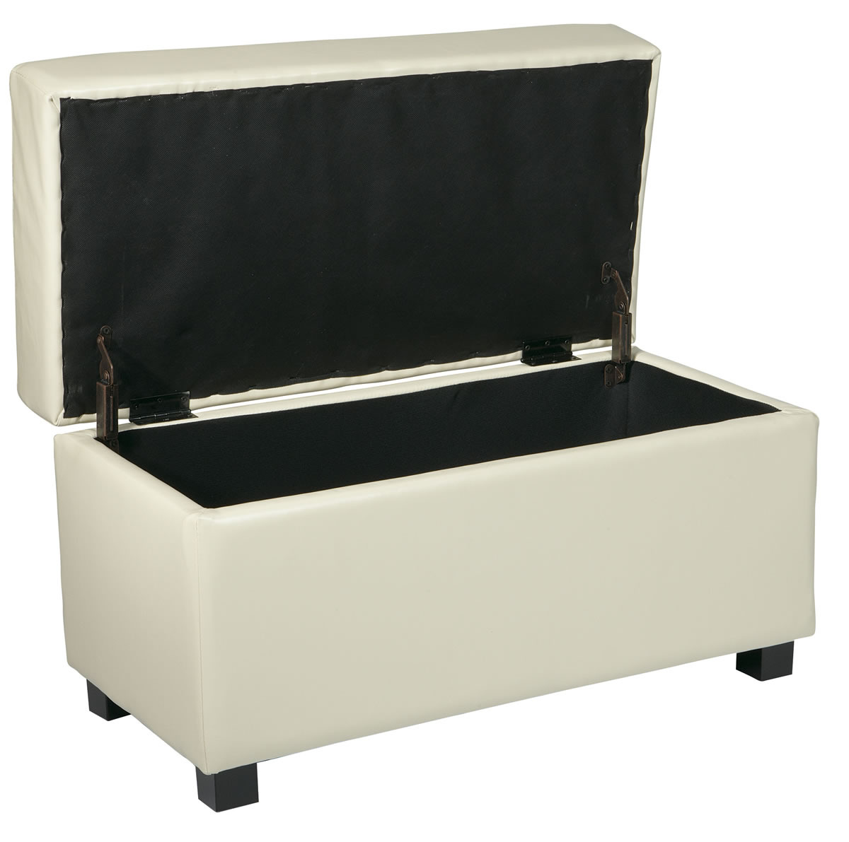 Cream Faux Leather 32 W Storage Ottoman Bench W Safety