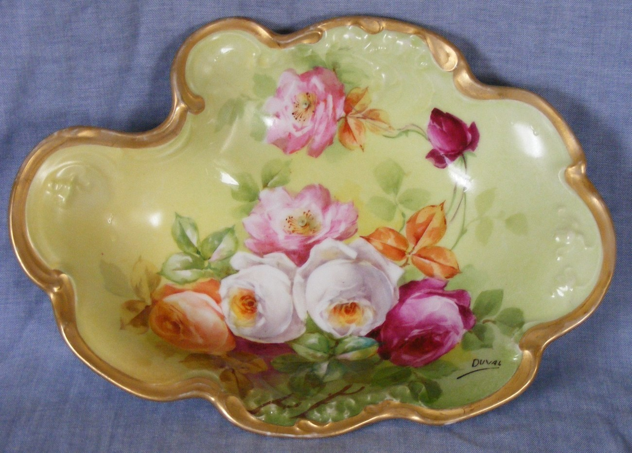 Limoges dresser tray Jean Pouyat Victorian roses hand painted Duval 1890 to 1932