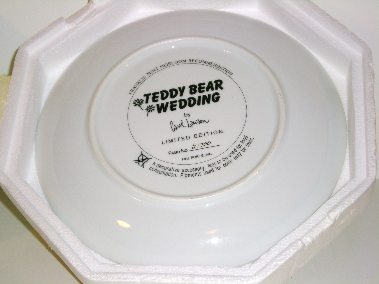 Image 1 of The Franklin Mint Teddy Bear Wedding Decorated Plate 1990