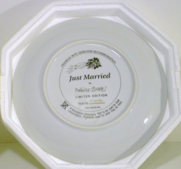 Image 1 of The Franklin Mint Teddy Bear Just Married Plate 1991
