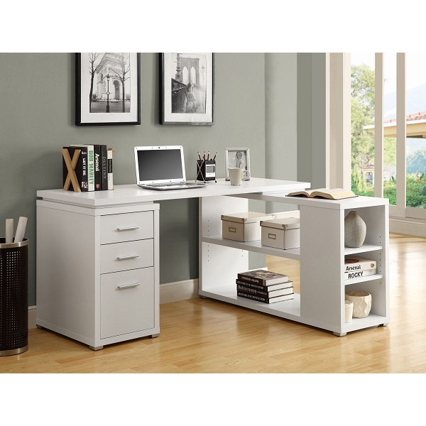 corner computer desk with drawers left right facing. Black Bedroom Furniture Sets. Home Design Ideas