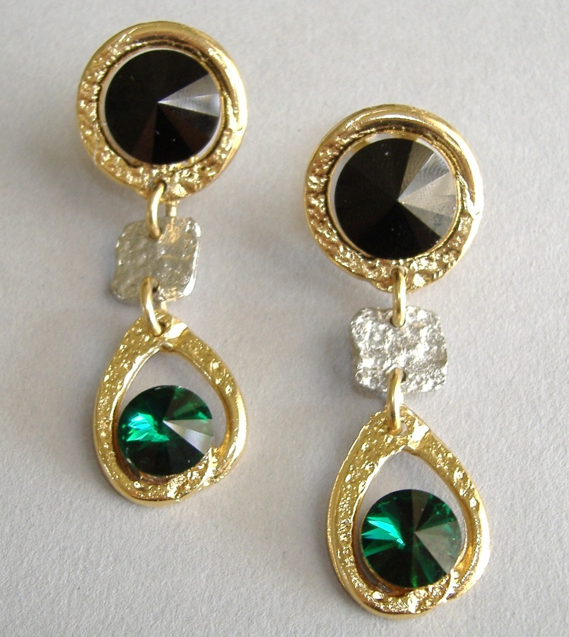 Emerald Green Black Crystal Earrings Gold Silver Unique Clip-on Dangle  Handmade