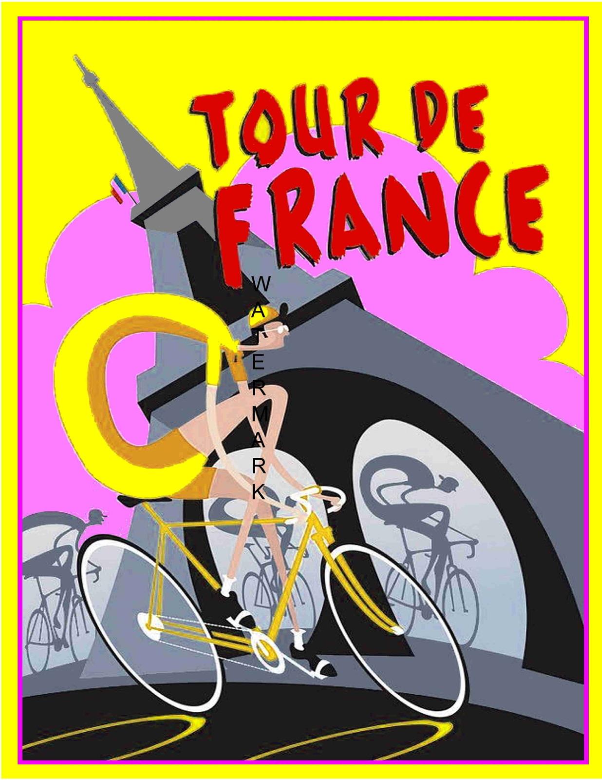 Tour de france art deco 13 x 10 in vintage bicycle racing - Deco tour de france ...