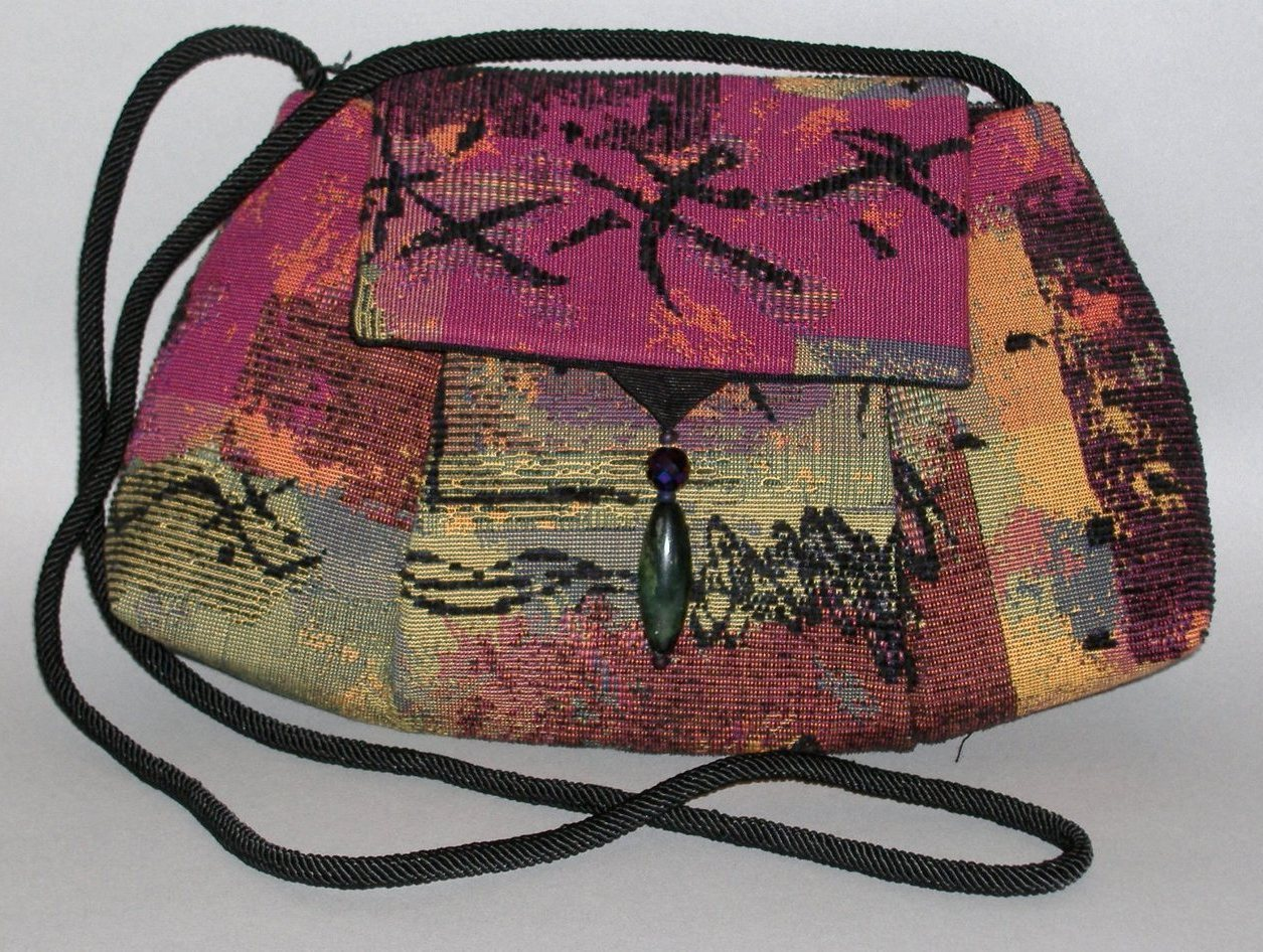 Pagoda Multi Color Purse Handcrafted Tapestry Shoulder Bag Handbag Clutch