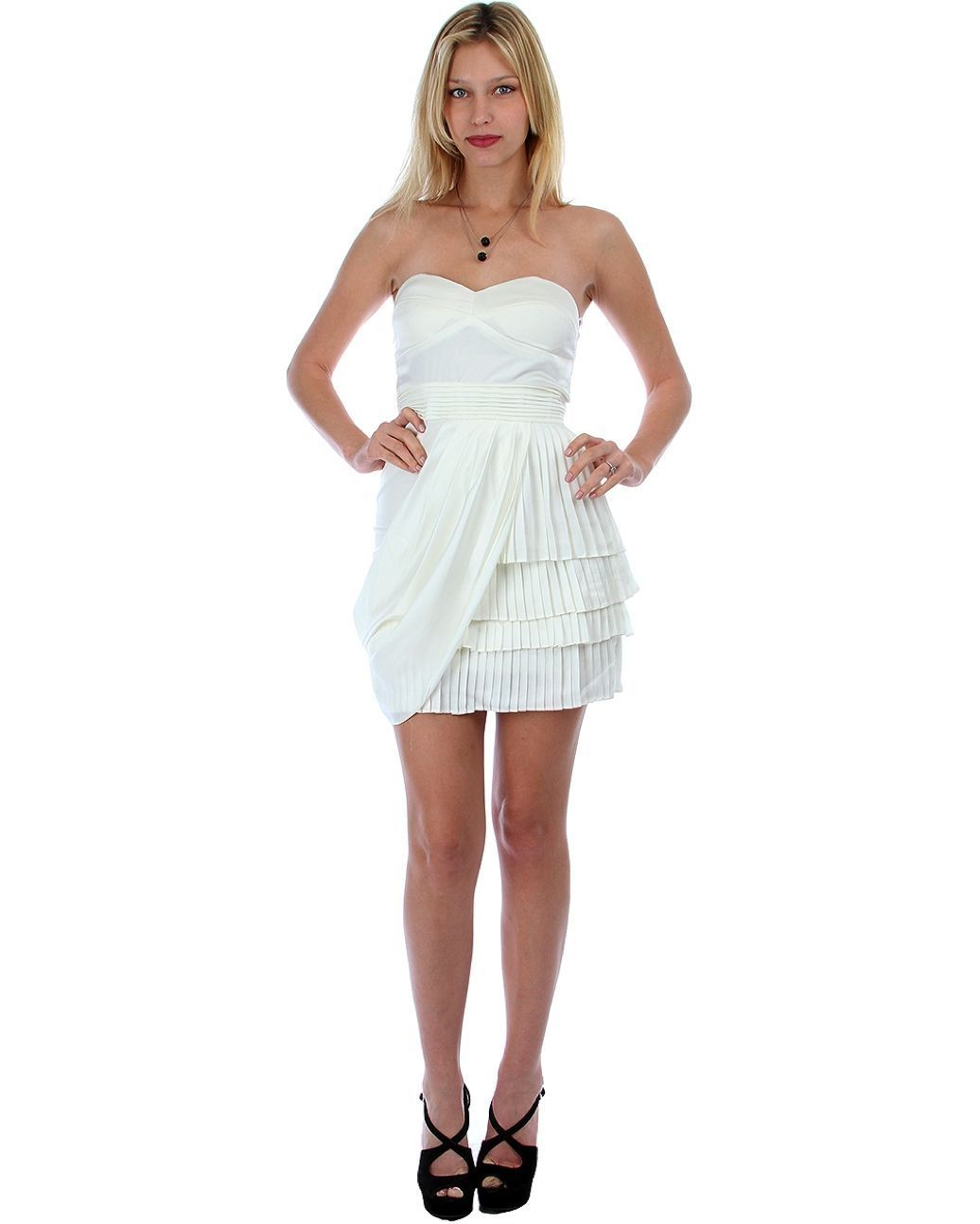 Image 2 of Sexy Juniors Strapless Ivory Tiered Draped Party Cruise Club Mini Dress - Ivory/