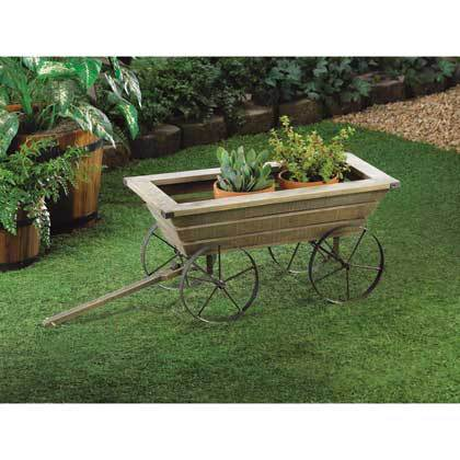 Wood Wagon Flower Box Planter Plant Stand