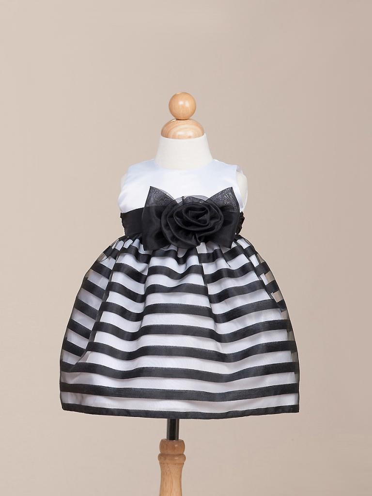 Image 1 of Stunning Black Striped White Top Flower Girl Party Pageant Dress Crayon Kids USA