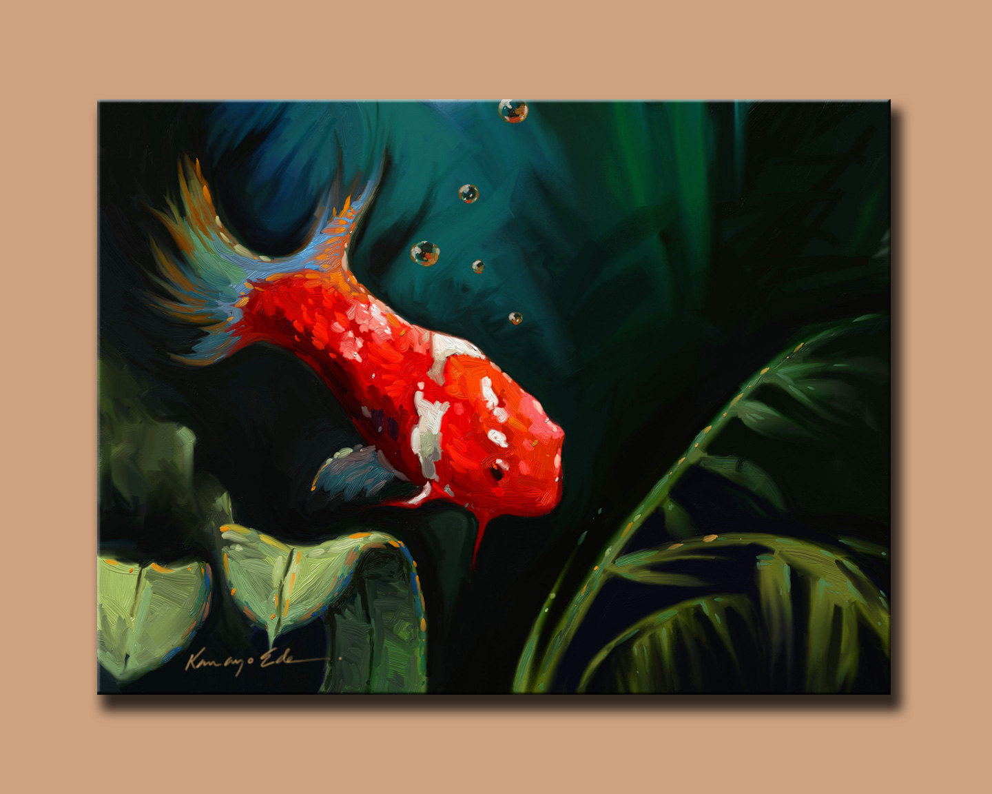 Koi 30 x 40 hand embellished print on canvas prints for Koi canvas print