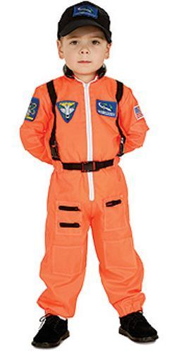 Image 0 of Super Hero Cute Orange Flight Suit w/Patches & Cap Astronaut Costume, Rubies
