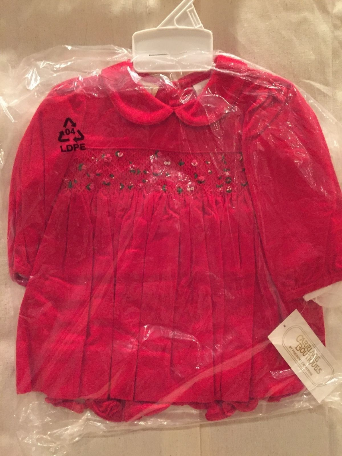Image 0 of Gorgeous Red Smocked Baby Girl Dress & Bloomers Set, Carriage Boutique - 6 Month