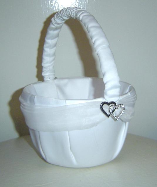 Flower Girl Baskets Nz : Classic white two hearts flower girl basket