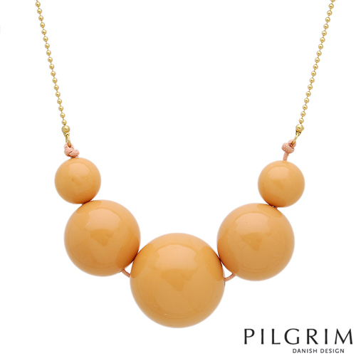 PILGRIM SKANDERBORG Necklace With Simulated gems Yellow Base metal and Orange