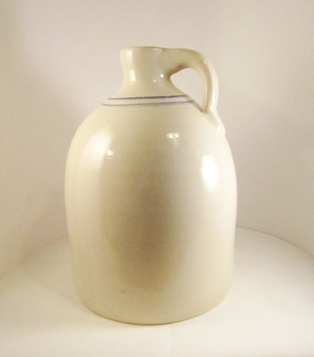 Marshall Pottery Gallon Jug, Handmade Texas Stoneware, Blue Stripe