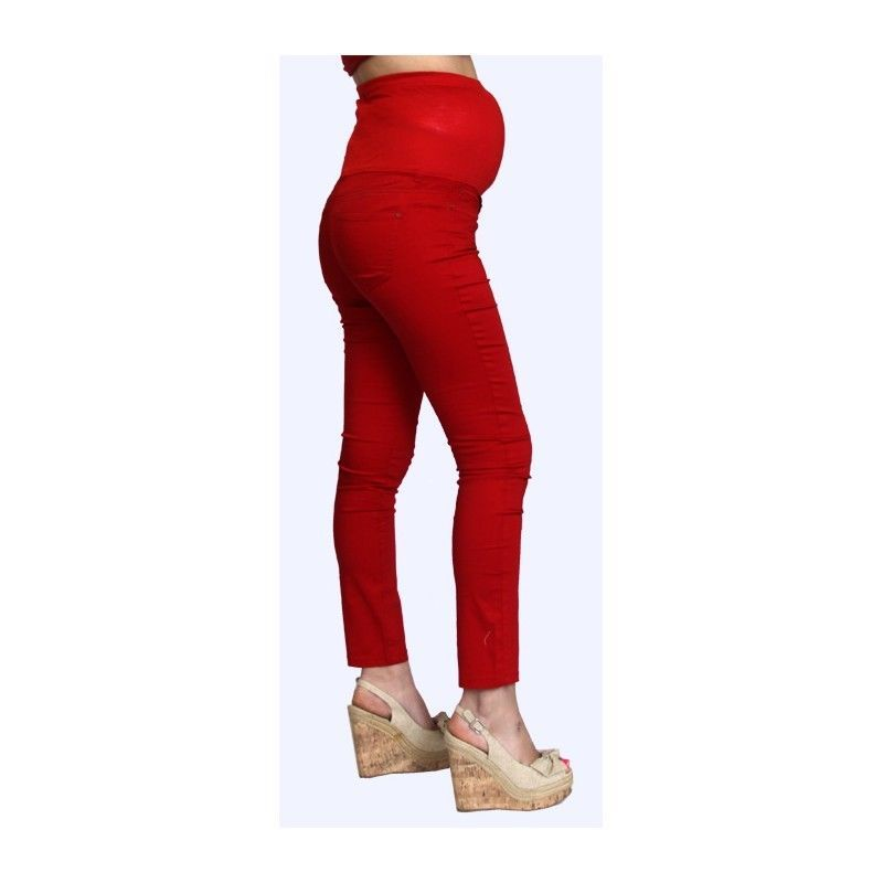 Image 3 of Sexy Fun Rayon Blend Maternity Jeans in Blue or Burgundy Denim S, M, L, XL USA -