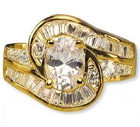 Dinner Ring 24kt Gold Oval-Cut CZ Imit. Diamond  Size 6.5 Engagement, Wedding