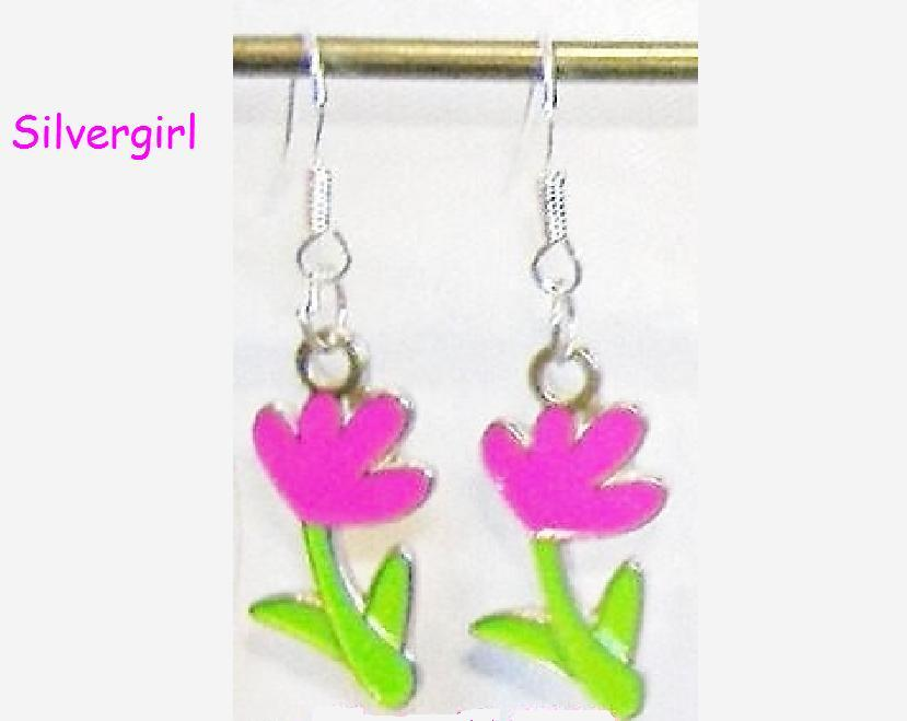 Hot Pink Green Flower Charm Dangle Earrings