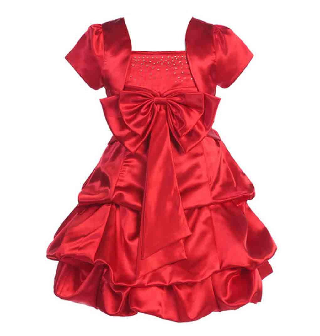 Image 1 of Stunning Girl's Fuchsia or Red Flower Girl Pageant Party Dress w/Bolero - Fuchsi