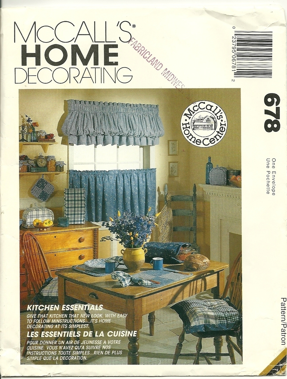 Mccall 39 S Sewing Pattern 678 Kitchen Accessories Home Decor New Uncut Home Decor Patterns