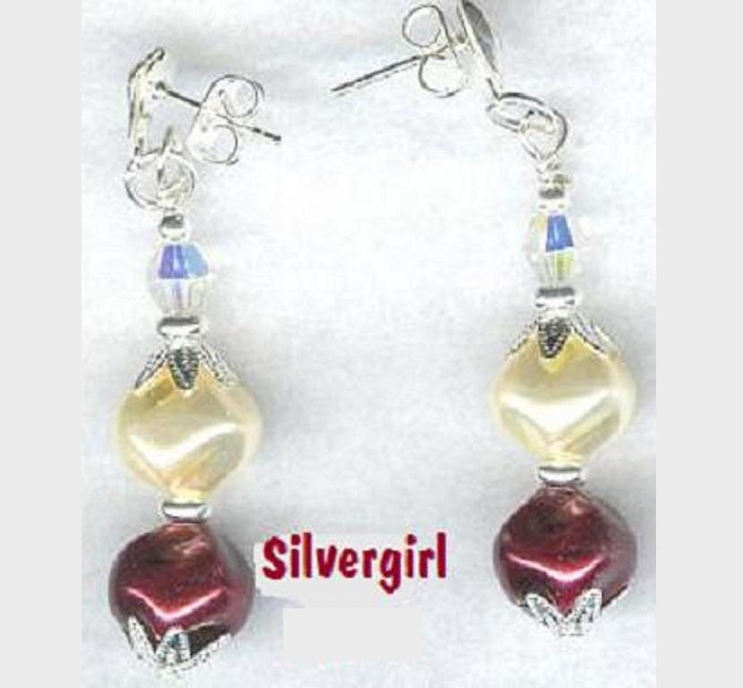 Burgundy Glass Whirl Pearl Crystal Dangle Earrings