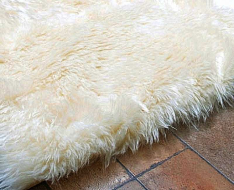 Faux Fur Area Rug Ivory Other