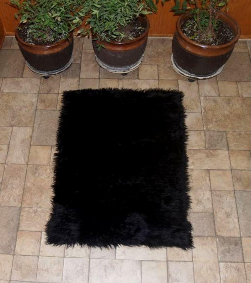 Faux Fur Area Rug Black Small