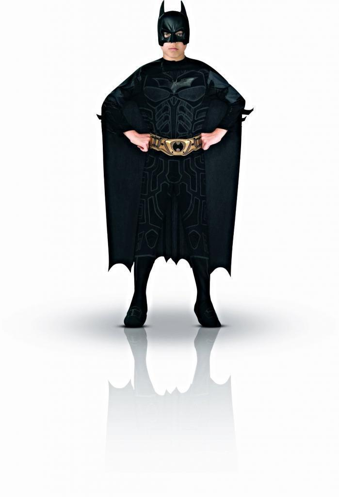 Image 0 of Rubies Batman Boxed Costume Black Jumpsuit/Cape/Mask/Belt/2 Batarangs, Boys Lg