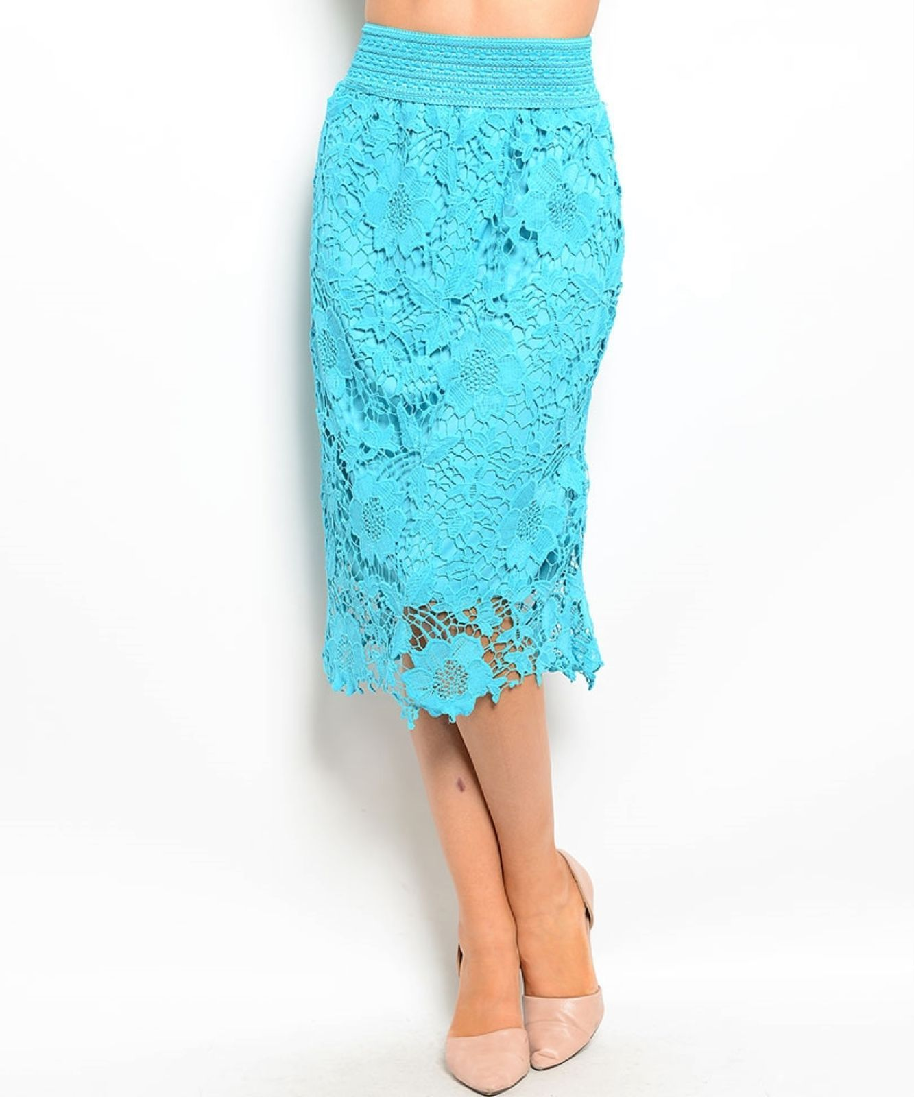 Image 1 of Chic Crochet Lace Lined Jr Skirt, Cocktail Club Wedding Party, Fuchsia or Aqua -