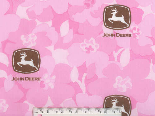 John Deere Pink Tractor Fabric FQ, girl quilting farm quilt,  fat quarter, B