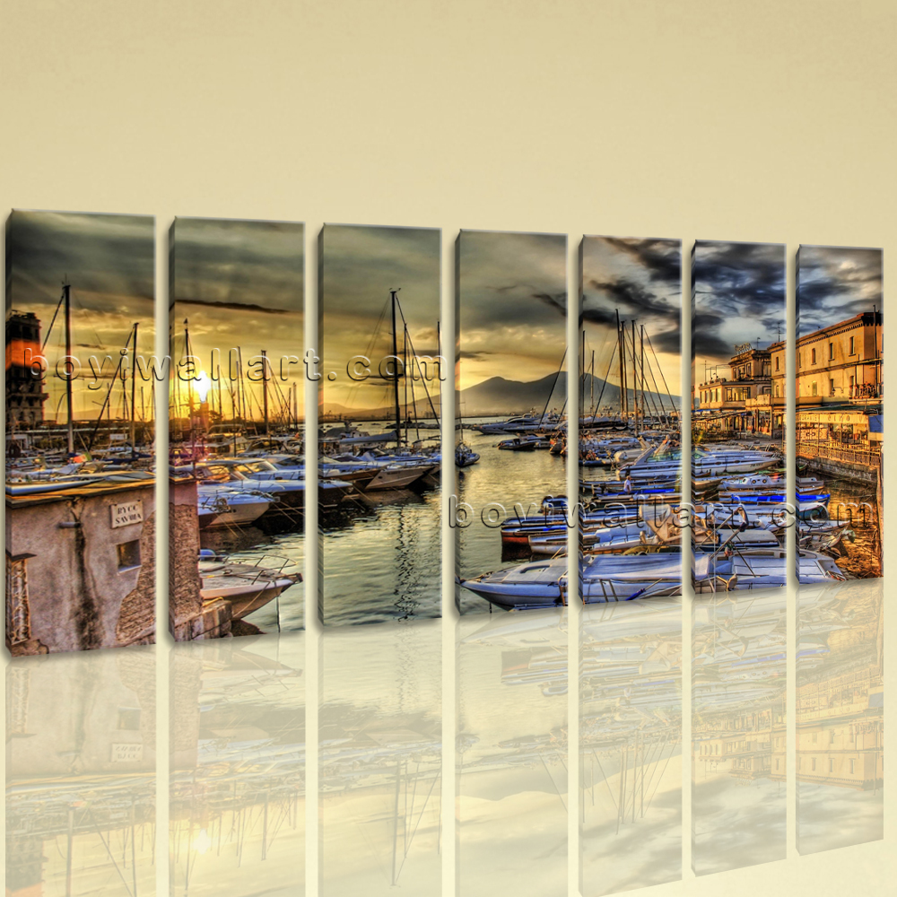 Extra Large Naples Italy Cityscape On Canvas Wall Art Home