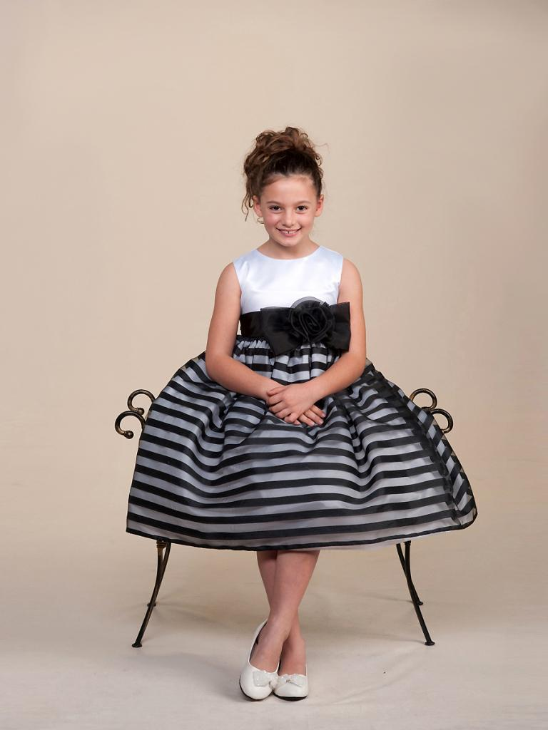 Image 0 of Stunning Black Striped White Top Flower Girl Party Pageant Dress Crayon Kids USA