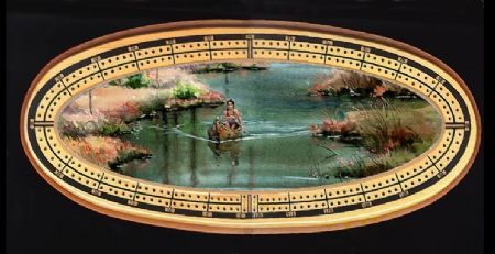 "CRIBBAGE BOARD by Sharon Sharpe ""INDIAN CANOE"""